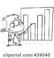 Royalty Free RF Clip Art Illustration Of A Cartoon Black And White Outline Design Of A Businessboy Pointing To A Bar Graph