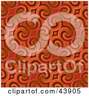 Clipart Illustration Of A Red Retro Background Of Swirls by Arena Creative