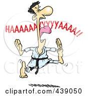 Royalty Free RF Clip Art Illustration Of A Cartoon Karate Man Screaming And Jumping