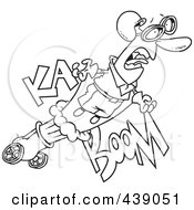 Royalty Free RF Clip Art Illustration Of A Cartoon Black And White Outline Design Of A Stunt Man Shooting Out Of A Canon by toonaday