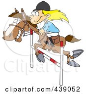 Royalty Free RF Clip Art Illustration Of A Cartoon Girl On A Leaping Horse by toonaday