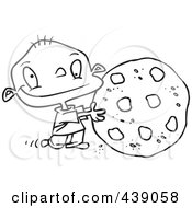Royalty Free RF Clip Art Illustration Of A Cartoon Black And White Outline Design Of A Toddler Rolling A Large Chocolate Chip Cookie by Ron Leishman