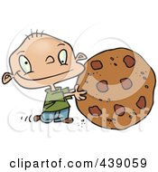Royalty Free RF Clip Art Illustration Of A Cartoon Toddler Rolling A Large Chocolate Chip Cookie by Ron Leishman