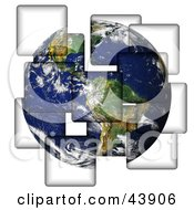 Clipart Illustration Of Planet Earth Being Separated Onto Different Pieces by Arena Creative #COLLC43906-0094