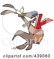 Cartoon Kangaroo With A K In Its Pouch