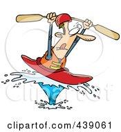 Cartoon Kayaking Man On A Big Splash