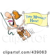 Royalty Free RF Clip Art Illustration Of A Cartoon Jungle Lord Holding Out A Sign With Sample Text by toonaday