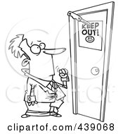 Royalty Free RF Clip Art Illustration Of A Cartoon Black And White Outline Design Of A Businessman At A Door With A Keep Out Sign