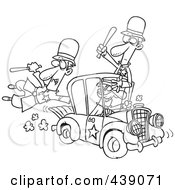 Royalty Free RF Clip Art Illustration Of A Cartoon Black And White Outline Design Of A Thief Stealing A Police Car