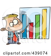 Royalty Free RF Clip Art Illustration Of A Cartoon Businessboy Pointing To A Bar Graph