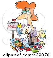 Royalty Free RF Clip Art Illustration Of A Cartoon Woman Overwhelmed With Junk Mail by toonaday
