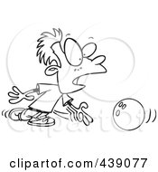 Royalty Free RF Clip Art Illustration Of A Cartoon Black And White Outline Design Of A Boy Bowling by toonaday