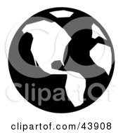 Clipart Illustration Of A Black And White Simple Globe by Arena Creative