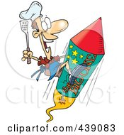 Royalty Free RF Clip Art Illustration Of A Cartoon Cook On A Fourth Of July Rocket