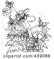 Royalty Free RF Clip Art Illustration Of A Cartoon Black And White Outline Design Of A Jungle Tourist