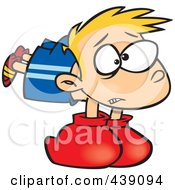 Royalty Free RF Clip Art Illustration Of A Cartoon Boy Wearing Heavy Boxing Gloves