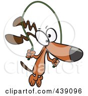 Royalty Free RF Clip Art Illustration Of A Cartoon Dog Jumping Rope