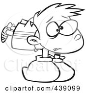 Royalty Free RF Clip Art Illustration Of A Cartoon Black And White Outline Design Of A Boy Wearing Heavy Boxing Gloves