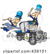 Royalty Free RF Clip Art Illustration Of A Cartoon Thief Stealing A Police Car