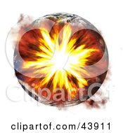 Clipart Illustration Of Earth Exploding During A Terrorist Bombing Or Nuclear War