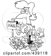Royalty Free RF Clip Art Illustration Of A Cartoon Black And White Outline Design Of A Woman Overwhelmed With Junk Mail