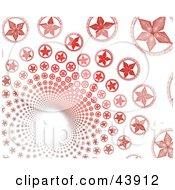 Red Fractal Star Vortex On White