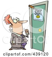 Royalty Free RF Clip Art Illustration Of A Cartoon Businessman At A Door With A Keep Out Sign by toonaday