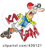 Royalty Free RF Clip Art Illustration Of A Cartoon Stunt Man Shooting Out Of A Canon by toonaday