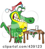 Royalty Free RF Clip Art Illustration Of A Cartoon Christmas Gator Anticipating Dinner