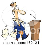 Royalty Free RF Clip Art Illustration Of A Cartoon Nervous Politician Approaching A Podium by Ron Leishman