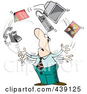 Royalty Free RF Clip Art Illustration Of A Cartoon Businessman Juggling Responsibilities