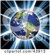 Clipart Illustration Of A Bright Explosion And Burst Of Light Behind Planet Earth by Arena Creative #COLLC43913-0094