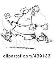 Royalty Free RF Clip Art Illustration Of A Cartoon Black And White Outline Design Of A Jogging Man
