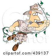 Royalty Free RF Clip Art Illustration Of A Cartoon Explorer Man Swinging On A Vine by toonaday