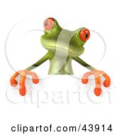 Clipart Illustration Of A Cute 3d Green Tree Frog Standing Behind A Blank Sign