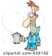 Royalty Free RF Clip Art Illustration Of A Cartoon Tired Man Holding A Coffee Pot by toonaday
