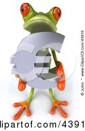 Clipart Illustration Of A Cute 3d Green Tree Frog Holding A Silver Euro Symbol