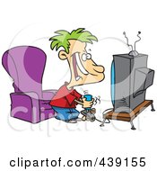 Royalty Free RF Clip Art Illustration Of A Cartoon Boy Playing A Video Game With A Joystick