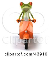 Clipart Illustration Of A Cute 3d Green Tree Frog Riding Forward On An Orange Scooter