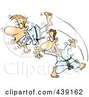 Royalty Free RF Clip Art Illustration Of A Cartoon Judo Man Fighting by toonaday