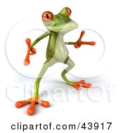 Clipart Illustration Of A Cool Dancing 3d Green Tree Frog With Big Red Eyes