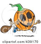 Royalty Free RF Clip Art Illustration Of A Cartoon Running Halloween Pumpkin by toonaday