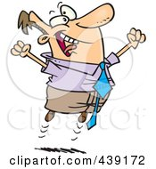 Royalty Free RF Clip Art Illustration Of A Cartoon Joyful Businessman Jumping by Ron Leishman