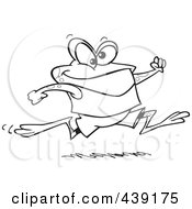 Royalty Free RF Clip Art Illustration Of A Cartoon Black And White Outline Design Of A Jogging Frog