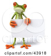 Cute 3d Green Tree Frog Standing And Holding A Blank Sign