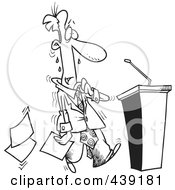 Royalty Free RF Clip Art Illustration Of A Cartoon Black And White Outline Design Of A Nervous Politician Approaching A Podium by toonaday