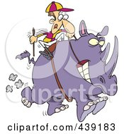 Royalty Free RF Clip Art Illustration Of A Cartoon Jockey Riding A Rhino by toonaday