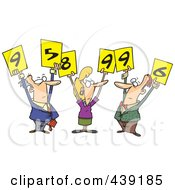 Royalty Free RF Clip Art Illustration Of Cartoon Judges Holding Up Numbers by toonaday