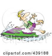 Royalty Free RF Clip Art Illustration Of A Cartoon Man Hanging Onto A Jetski