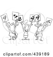 Royalty Free RF Clip Art Illustration Of A Cartoon Black And White Outline Design Of Judges Holding Up Numbers by toonaday